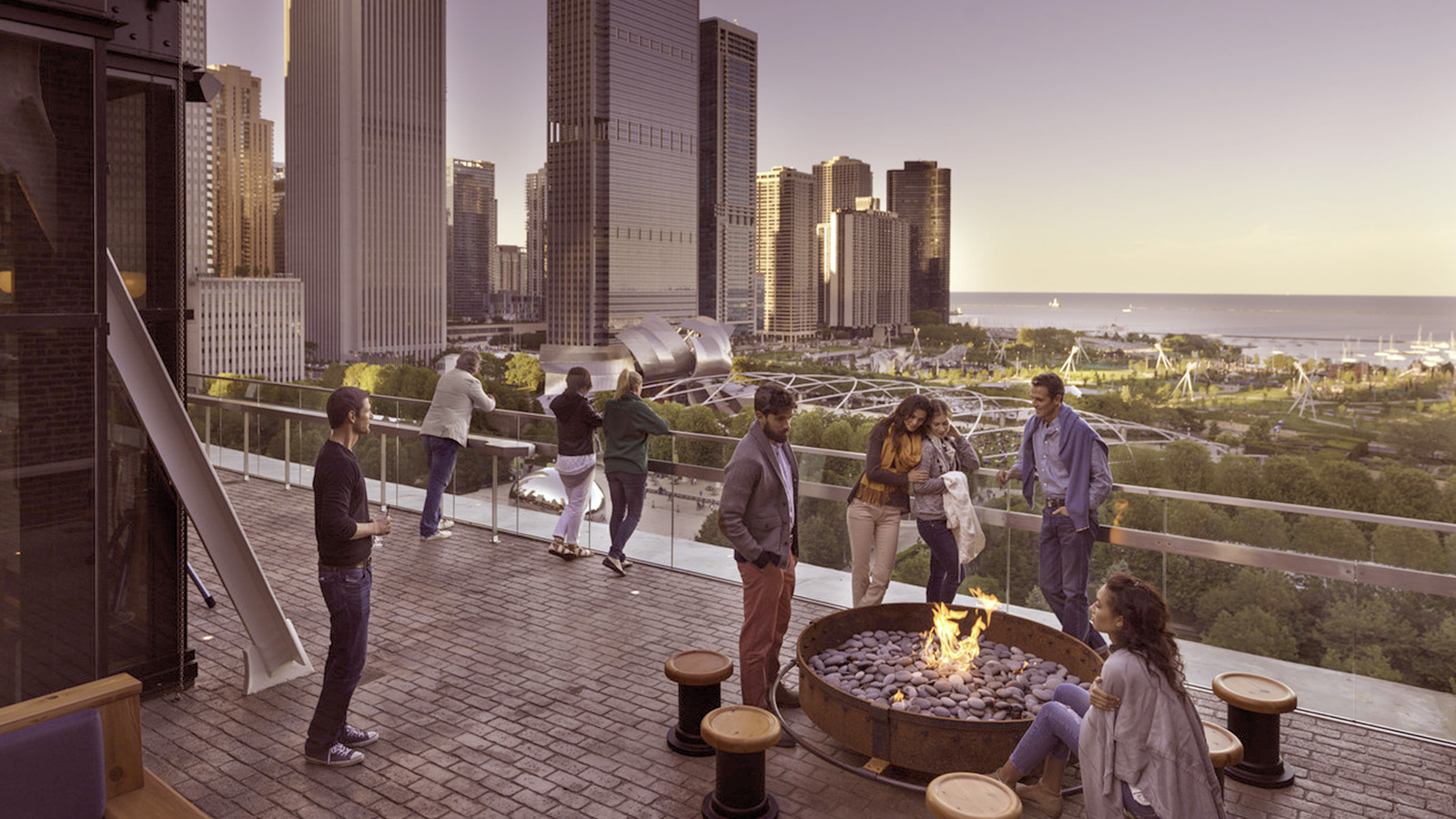 People On Rooftop Deck In Chicago