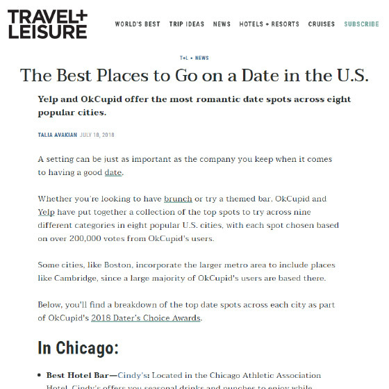 Travel + Leisure: The Best Places to Go On a Date in the U.S.
