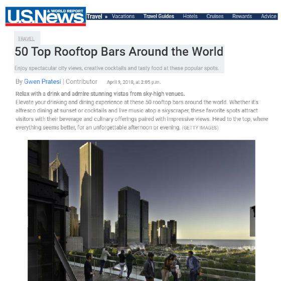 U.S. News & World Report: 50 Top Rooftop Bars Around the World