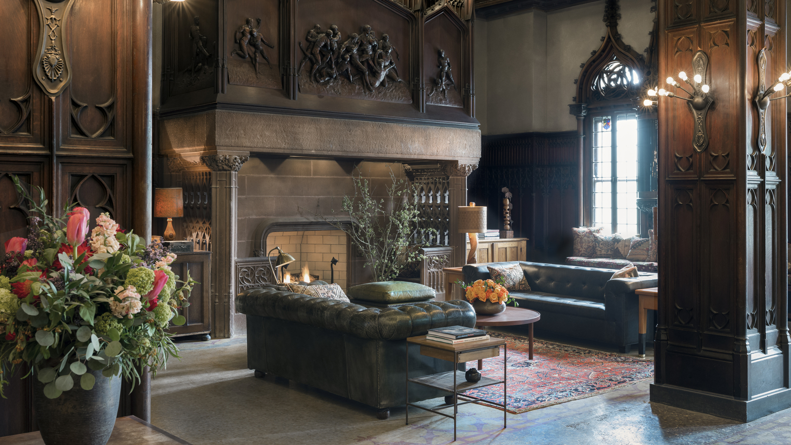 Lobby Sitting Area With Large Fireplace