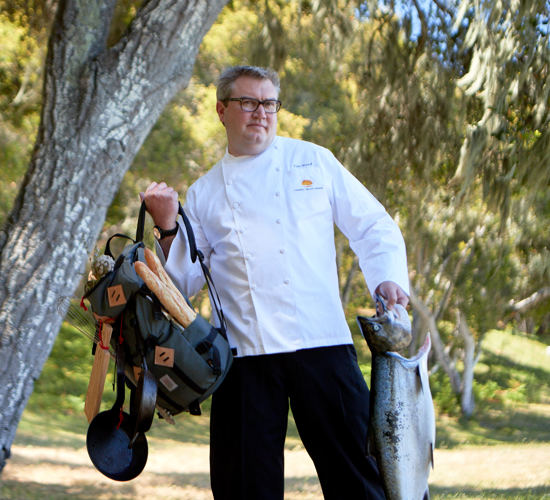 Carmel Valley Ranch_Artisan_Chef_Tim Wood_fish and backpack_N5I2904_GJ