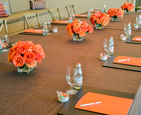 Carmel Valley Ranch_Meetings_conference table place setting detail