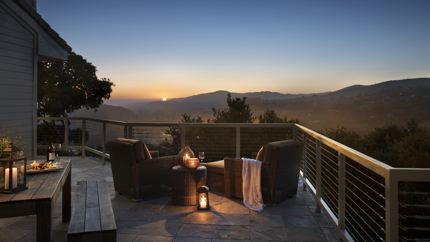 Carmel Valley Ranch_Accommodations_Carmel Suite_wrap around deck_evening_10_PD