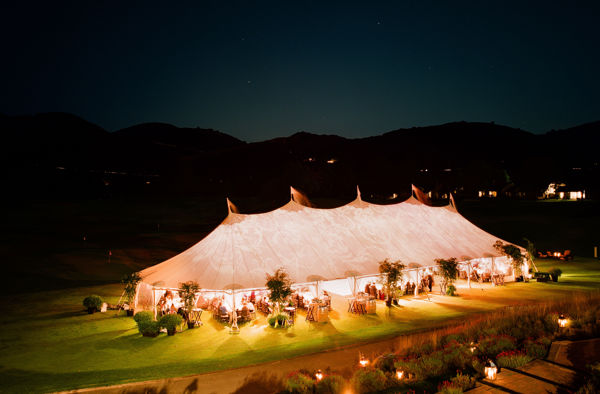 Carmel Valley Ranch_Events_large tent on driving range lit up at night