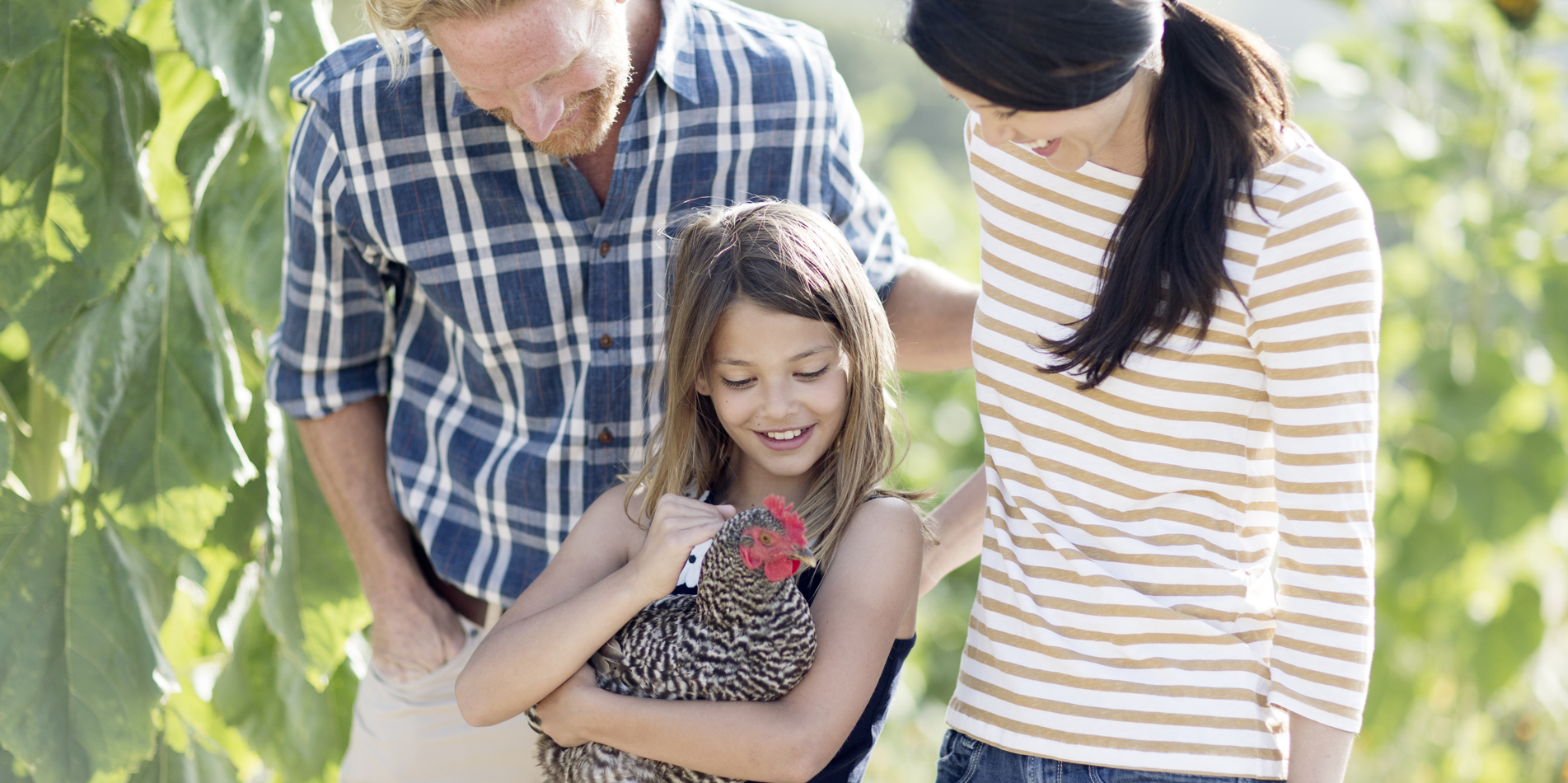 Carmel Valley Ranch_Lifestyle_Chicken_girl with parents holding chicken