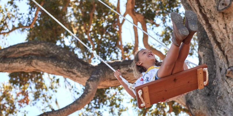 Carmel Valley Ranch_Lifestyle_Play_girl on swing_high in tree_1859_GJ
