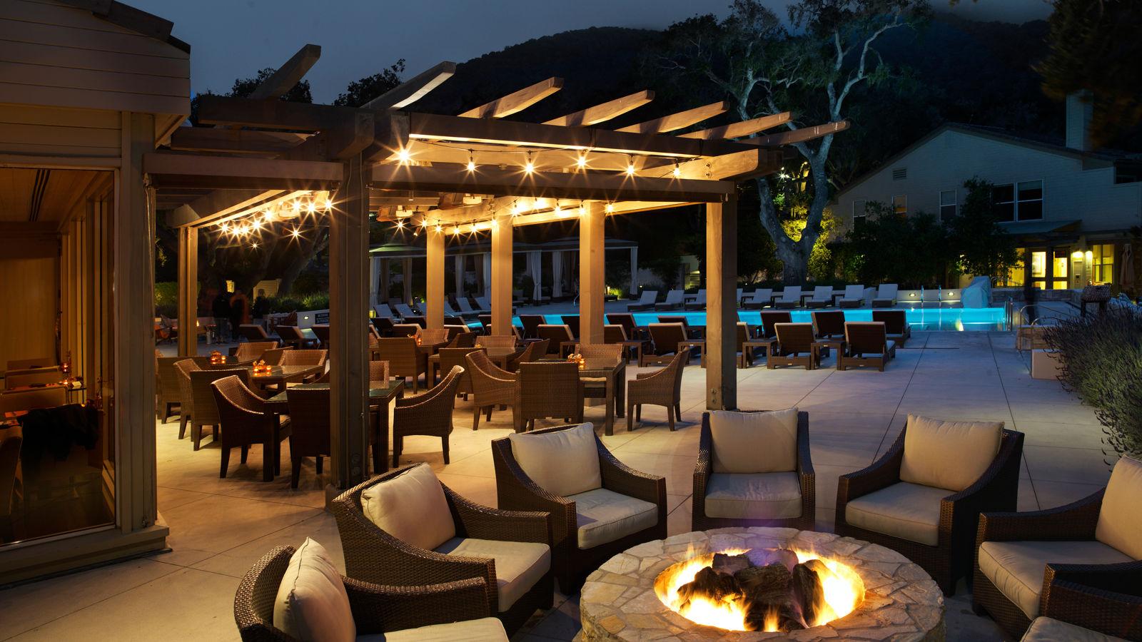 Carmel Valley Ranch_Lodge Pool_Back Firepit_Night