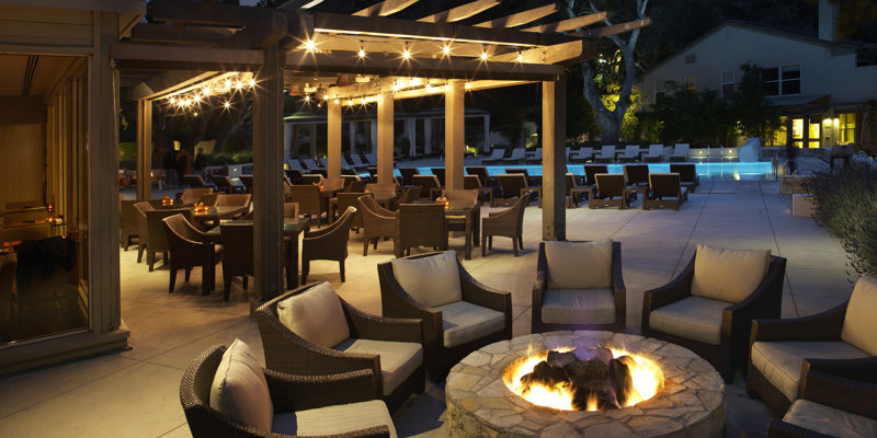 Carmel Valley Ranch_Lodge Pool_Back Firepit_Night