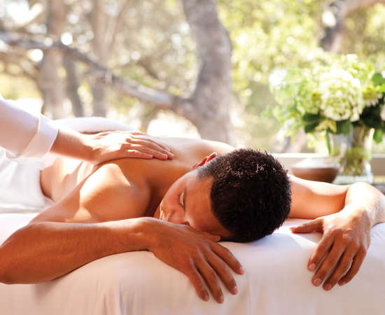 Carmel Valley Ranch_Spa_male on massage table