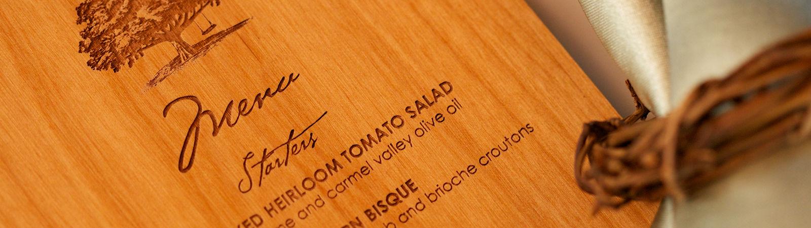 Carmel Valley Ranch_Weddings_menu printed on wood veneer