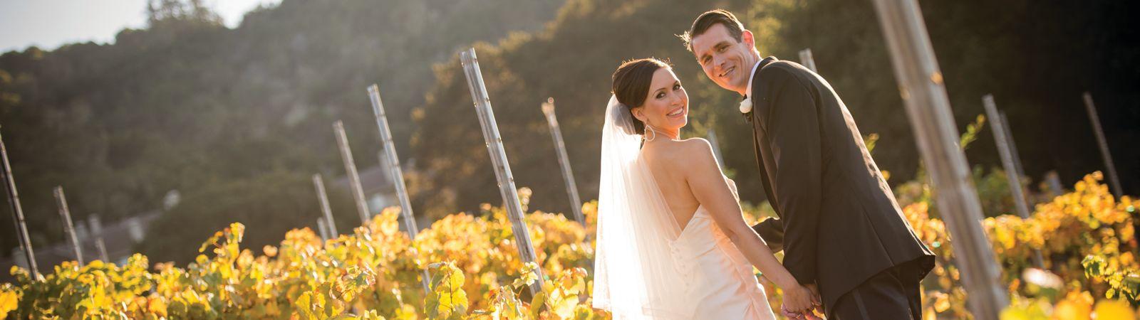 Carmel Valley Ranch_Wedings_wedding couple in fall vineyard
