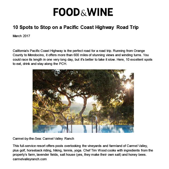 FOOD & WINE - MARCH 2017