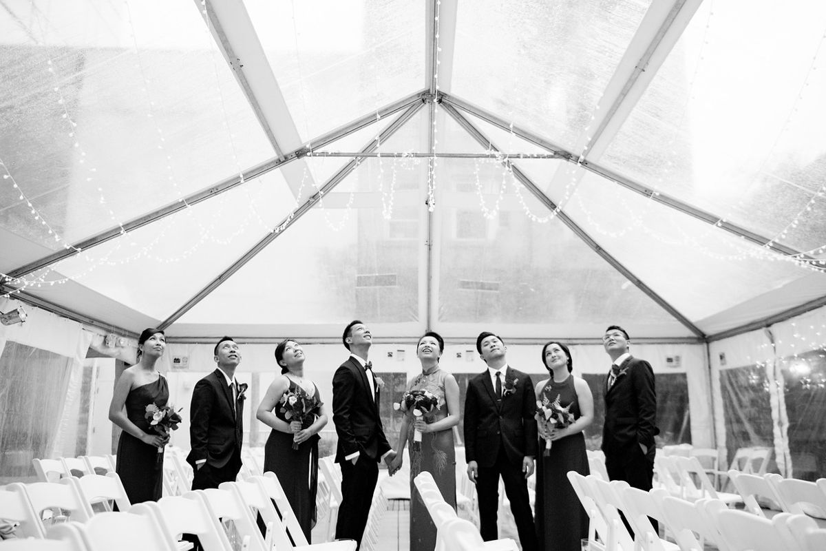Bridal Party In Wedding Tent