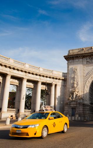 Taxi In Front Of Manhattan Bridge Archway