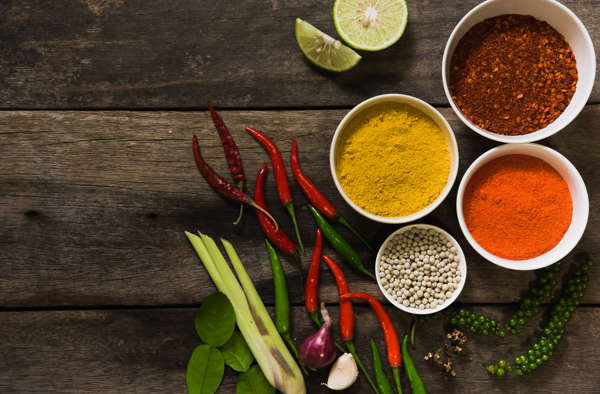 spices with ingredients on dark background. asian food, cooking concept