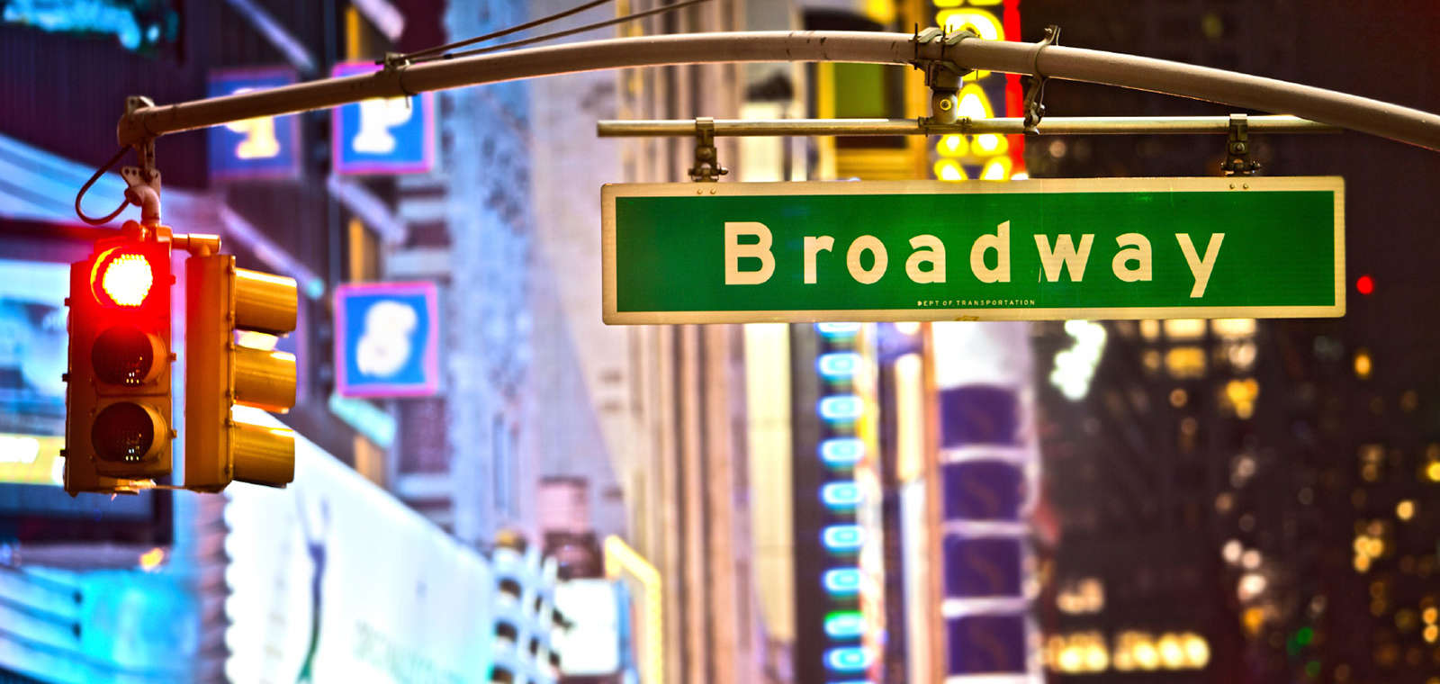 Broadway Street Sign And Stop Light