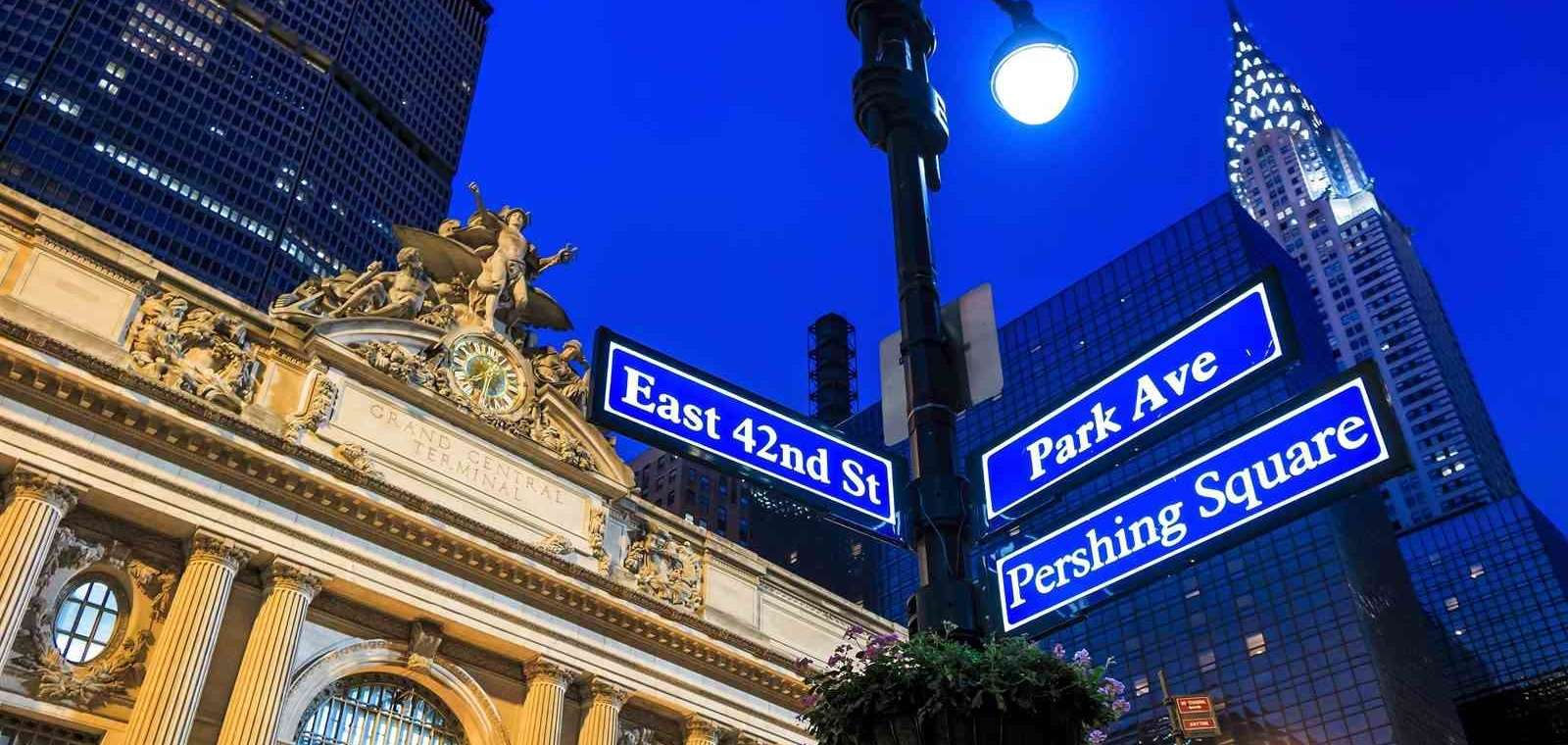 Street Signs In Front Of Grand Central Terminal