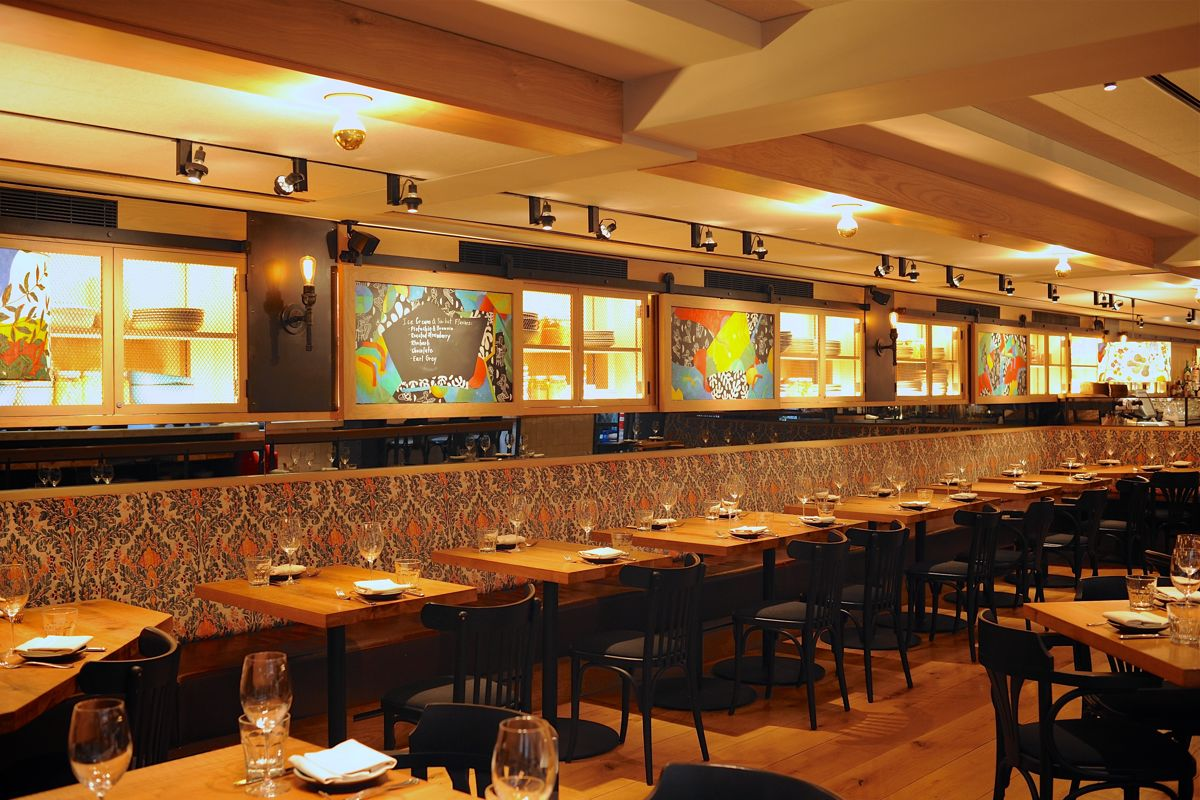 Restaurant Dining Room With Set Tables