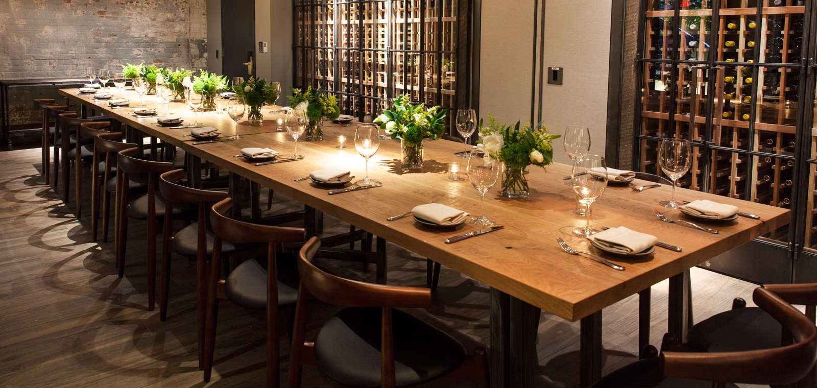 Private Dining Room Table With Flowers