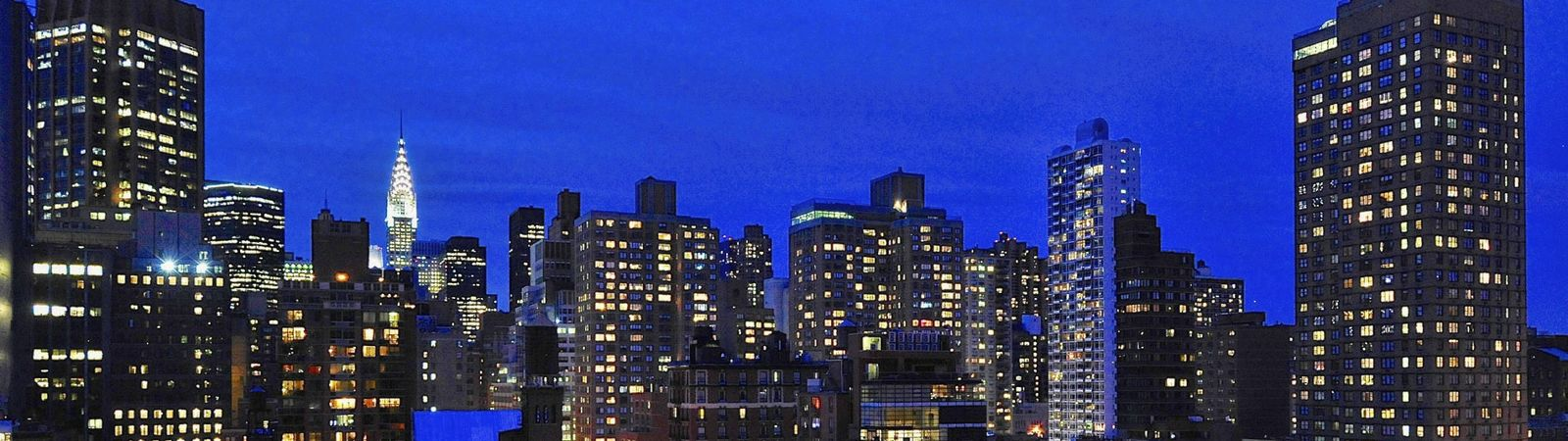 View of New York City Skyline At Night