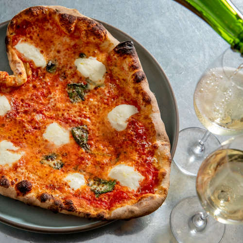 Heart-Shaped Pizza and Champagne