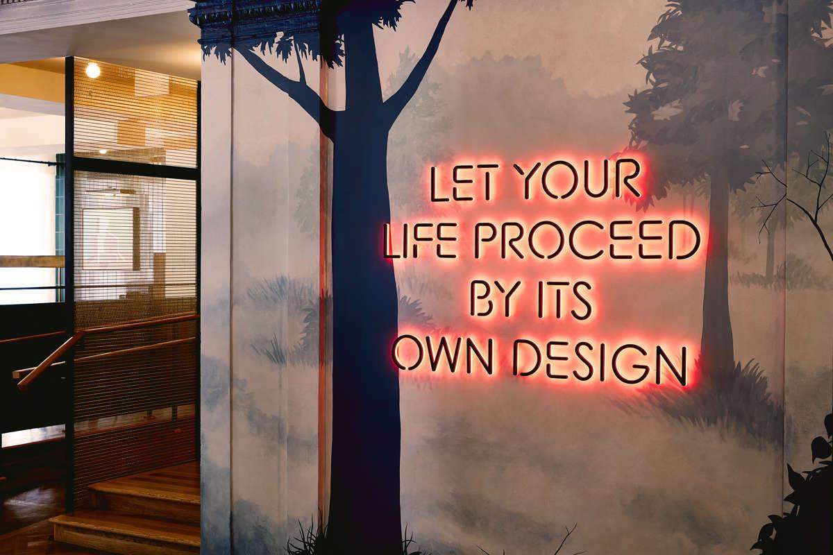 Howard Woods Mural in Hotel Revival's Lobby