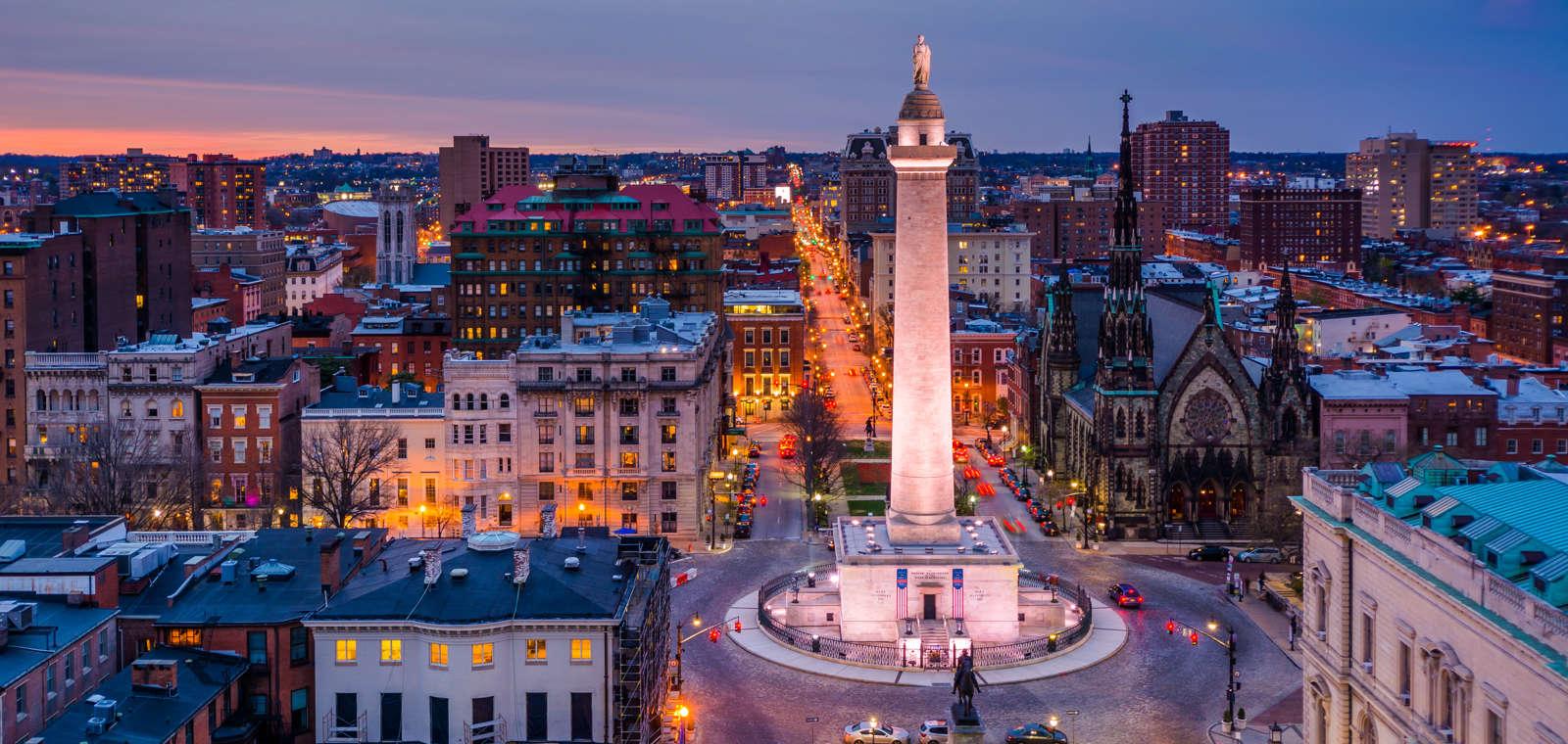 View Of Washington Monument In Mount Vernon Baltimore