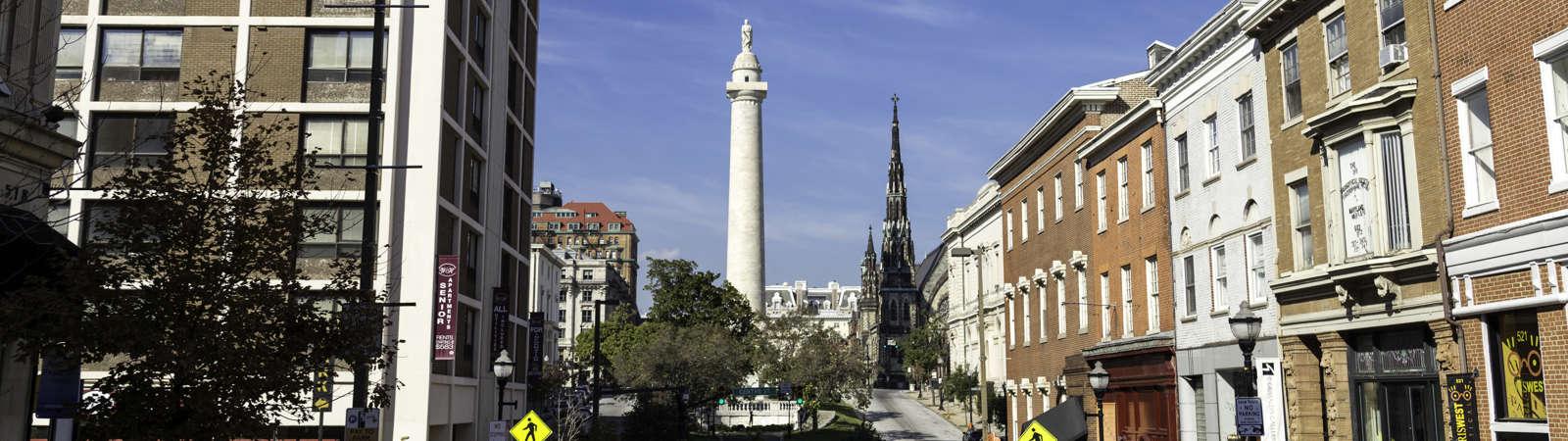 Baltimore Mt Vernon neighborhood and Washington Monument