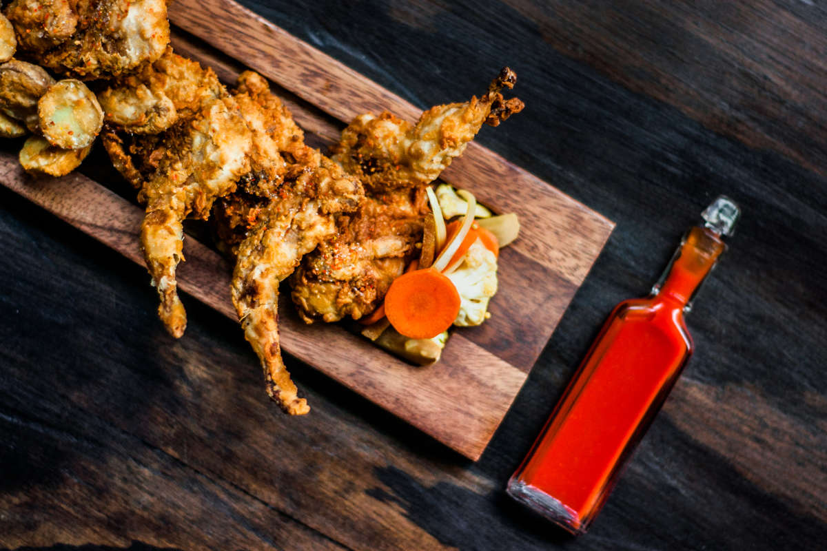Fried Quail With Hot Sauce And Pickles From Square Meal