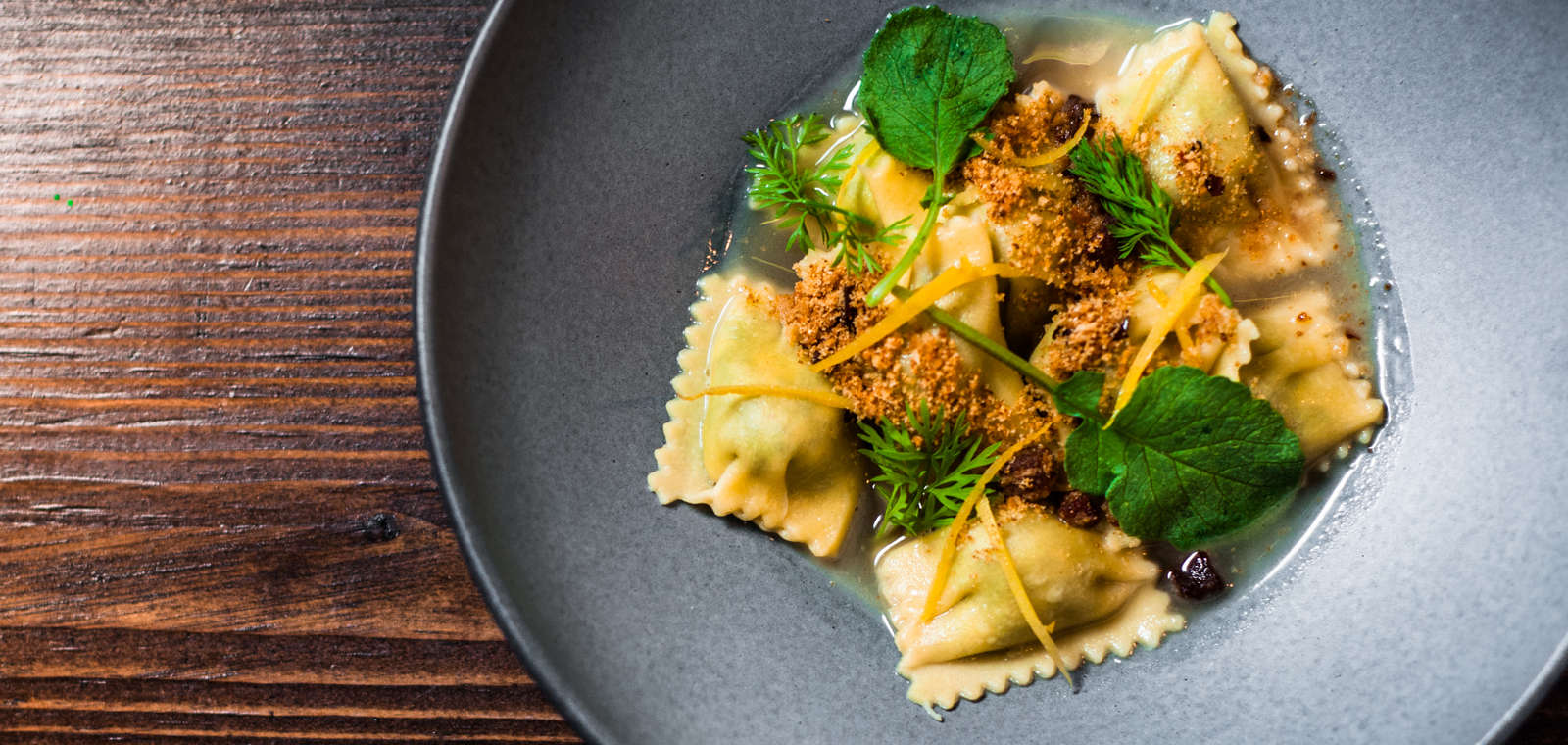 Mustard Green Agnolotti From Square Meal