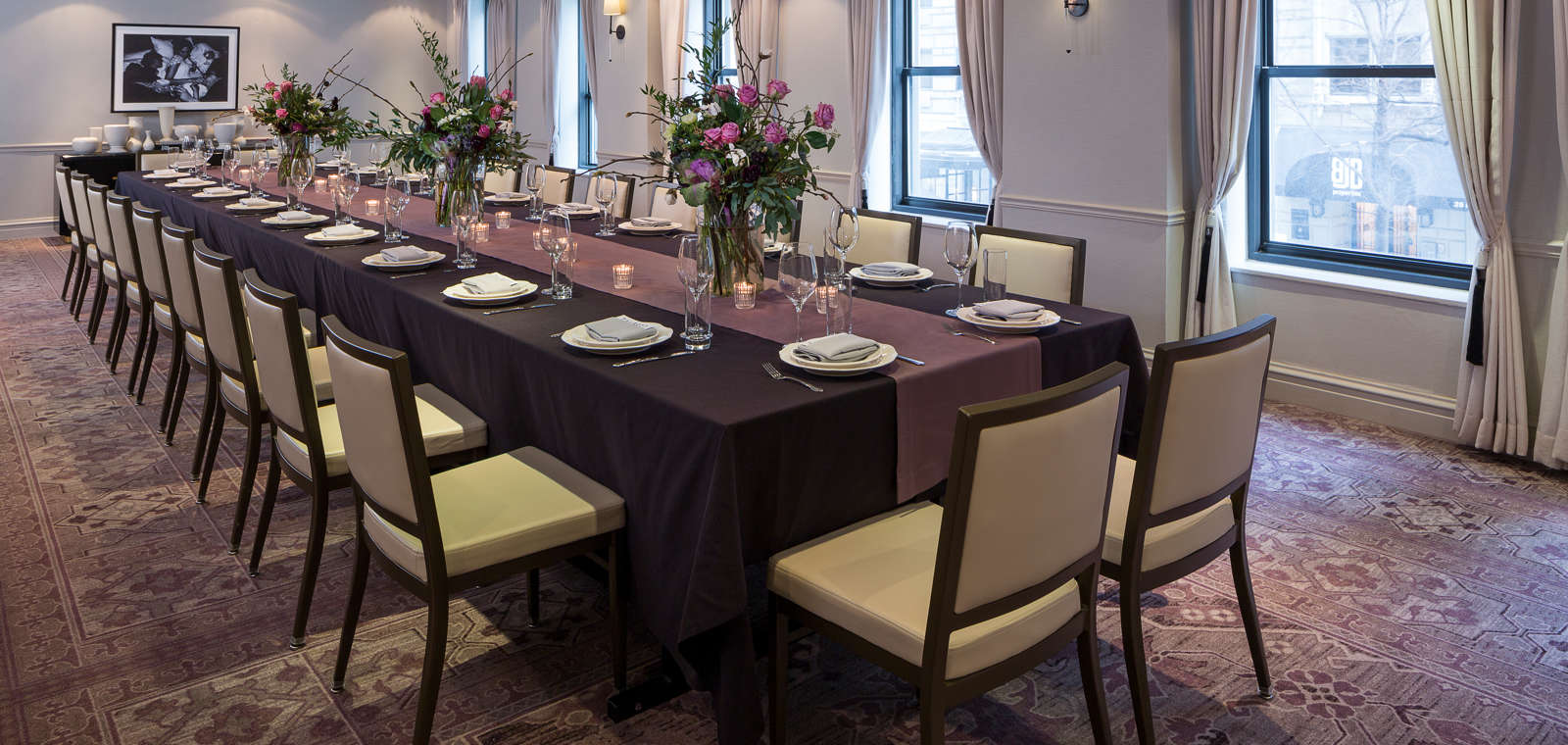 Talbott Hotel_Meetings_Rectangular Dining Table 2