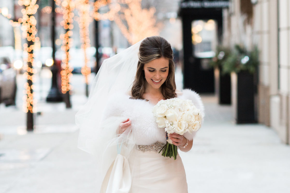 Talbott Hotel_Weddings_Bride Walking on Sidewalk