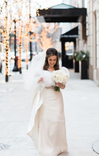 Talbott Hotel_Weddings_Bride Walking on Sidewalk
